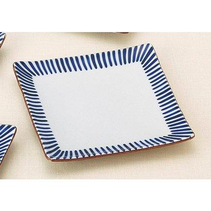 手描き藍トクサ 角皿(大) 5個組 /  瀬戸焼