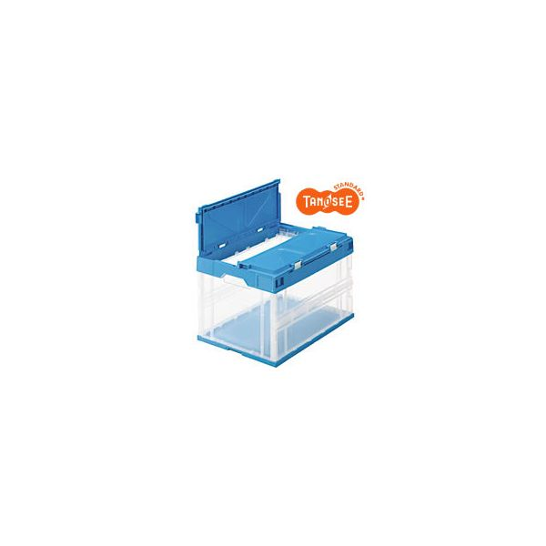 TANOSEE 折りたたみコンテナ(フタ一体型)50L 透明ブルー 12個 O50LFCB 【R64887】