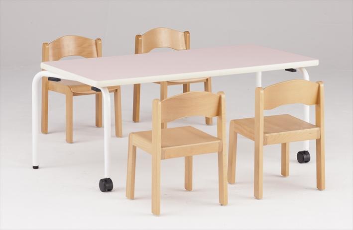 TOKIO【藤沢工業】 キッズテーブル 半円形・キャスター(2個)タイプ JR-1260HR W1260xD600xH510