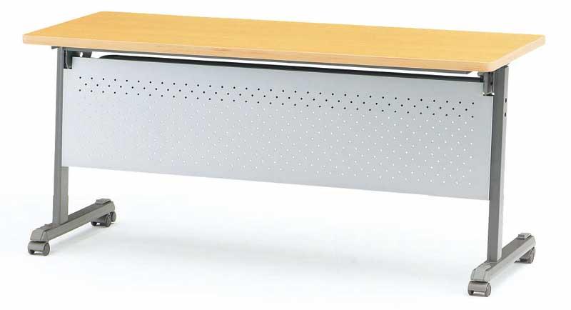 TOKIO【藤沢工業】天板跳ね上げ式会議用テーブル(スタッキングテーブル) ストレートテーブル・パネル付 MOG-1560P W1500xD600xH700mm
