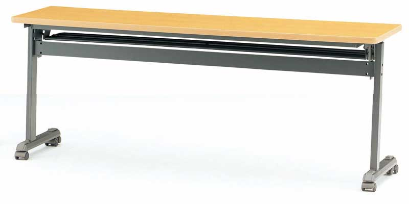 TOKIO【藤沢工業】天板跳ね上げ式会議用テーブル(スタッキングテーブル) ストレートテーブル・パネル無 MOG-1845 W1800xD450xH700mm