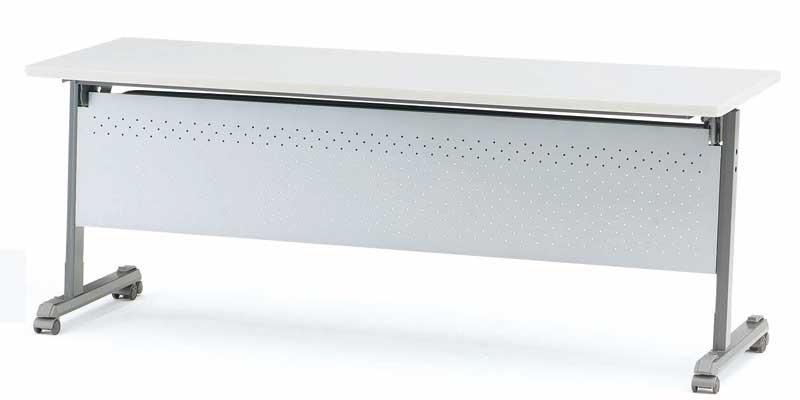 TOKIO【藤沢工業】天板跳ね上げ式会議用テーブル(スタッキングテーブル) ストレートテーブル・パネル付 MOG-1845P W1800xD450xH700mm