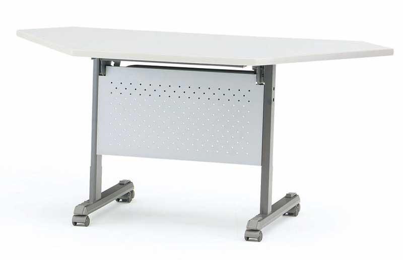TOKIO【藤沢工業】天板跳ね上げ式会議用テーブル(スタッキングテーブル) コーナーテーブル・パネル付 MOG-45P W1325xD450xH700mm