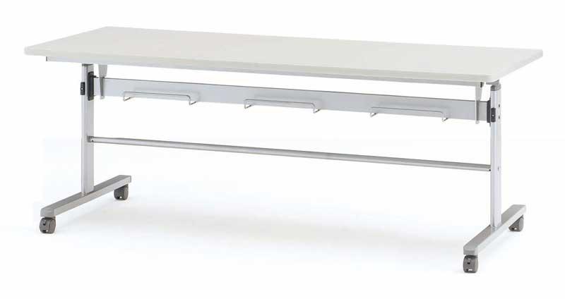 TOKIO【藤沢工業】天板跳ね上げ式会議用テーブル(スタッキングテーブル) 棚付・パネル無 MTS-HT1875 W1800xD750xH700mm