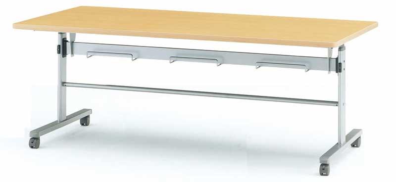 TOKIO【藤沢工業】天板跳ね上げ式会議用テーブル(スタッキングテーブル) 棚付・パネル無 MTS-HT1890 W1800xD900xH700mm