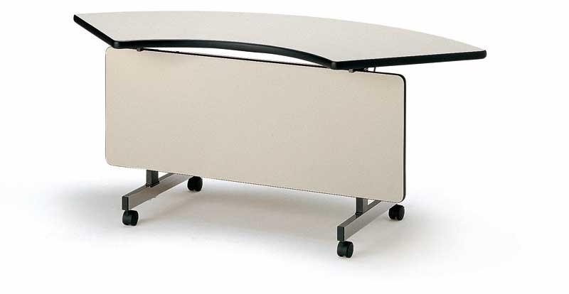 TOKIO【藤沢工業】天板跳ね上げ式会議用テーブル(スタッキングテーブル) コーナーテーブル・パネル付 TX-45CP W1272xD582xH700mm