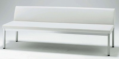 TOKIO【藤沢工業】 ロビーチェア(待合室用長椅子)背付・ウレタンレザーりタイプ 4人用 FL-218L W1800xD570xH640mm