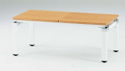 TOKIO【藤沢工業】 ロビーチェア(待合室用長椅子)背無・座部木製タイプ 2人用 FLC-2 W1000xD500xH400mm