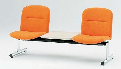 TOKIO【藤沢工業】 ロビーチェア(待合室用長椅子)背付テーブル付・布張りタイプ 2人用 FSL-2T W1510xD610xH750mm
