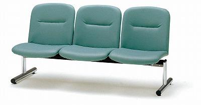TOKIO【藤沢工業】 ロビーチェア(待合室用長椅子)背付・ビニールレザーりタイプ 3人用 FSL-3L W1510xD610xH750mm