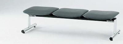 TOKIO【藤沢工業】 ロビーチェア(待合室用長椅子)背無・ビニールレザータイプ 3人用 FSL-3NL W1510xD520xH390mm
