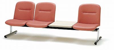 TOKIO【藤沢工業】ロビーチェア(待合室用長椅子)背付テーブル付・ビニールレザーりタイプ 3人用 FSL-3TL W2020xD610xH750mm