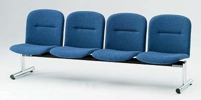 TOKIO【藤沢工業】 ロビーチェア(待合室用長椅子)背付・布張りタイプ 4人用 FSL-4 W2020xD610xH750mm
