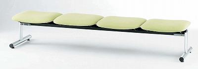 TOKIO【藤沢工業】 ロビーチェア(待合室用長椅子)背無・ビニールレザータイプ 4人用 FSL-4NL W2020xD520xH390mm