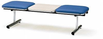 TOKIO【藤沢工業】 ロビーチェア(待合室用長椅子)背無テーブル付・ビニールレザータイプ 2人用 FTL-2NTL W1510xD500xH410mm