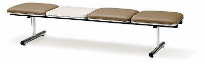 TOKIO【藤沢工業】 ロビーチェア(待合室用長椅子)背無テーブル付・ビニールレザータイプ 3人用 FTL-3NTL W2015xD500xH410mm