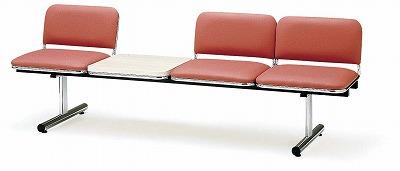 TOKIO【藤沢工業】 ロビーチェア(待合室用長椅子)背付テーブル付・ビニールレザーりタイプ 3人用 FTL-3TL W2015xD540xH660mm
