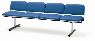 TOKIO【藤沢工業】 ロビーチェア(待合室用長椅子)背付・布張りタイプ 4人用 FTL-4 W2015xD540xH660mm