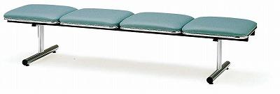 TOKIO【藤沢工業】ロビーチェア(待合室用長椅子)背無・ビニールレザータイプ 4人用 FTL-4NL W2015xD500xH410mm