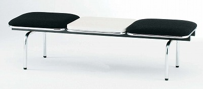 TOKIO【藤沢工業】 ロビーチェア(待合室用長椅子)背無テーブル付・布張りタイプ 2人用 FUL-2NT W1510xD500xH410mm