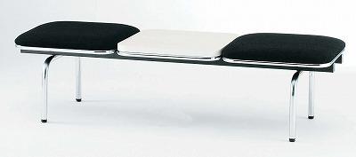 TOKIO【藤沢工業】 ロビーチェア(待合室用長椅子)背無テーブル付・ビニールレザータイプ 2人用 FUL-2NTL W1510xD500xH410mm