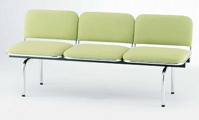 TOKIO【藤沢工業】ロビーチェア(待合室用長椅子)背付・布張りタイプ 3人用 FUL-3 W1510xD540xH660mm