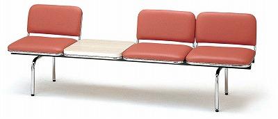 TOKIO【藤沢工業】 ロビーチェア(待合室用長椅子)背付テーブル付・ビニールレザーりタイプ 3人用 FUL-3TL W2015xD540xH660mm