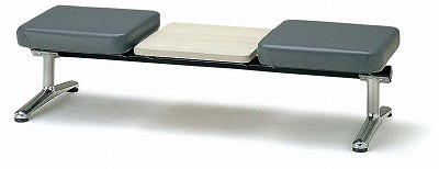 TOKIO【藤沢工業】 ロビーチェア(待合室用長椅子)背無テーブル付・布張りタイプ 2人用 LA-2NT W2060xD598xH380mm