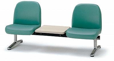TOKIO【藤沢工業】 ロビーチェア(待合室用長椅子)背付テーブル付・布張りタイプ 2人用 LA-2T W1560xD630xH740mm