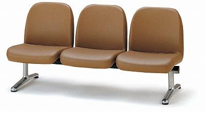 TOKIO【藤沢工業】 ロビーチェア(待合室用長椅子)背付肘無し・ビニールレザータイプ 3人用 LA-3L W1560xD630xH740mm