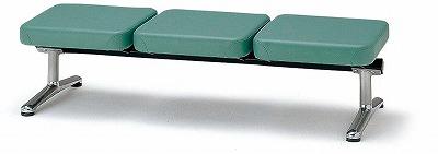 TOKIO【藤沢工業】 ロビーチェア(待合室用長椅子)背無・布張りタイプ 3人用 LA-3N W1540xD598xH380mm