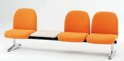 TOKIO【藤沢工業】 ロビーチェア(待合室用長椅子)背付テーブル付・ビニールレザータイプ 3人用 LA-3TL W2090xD630xH740mm