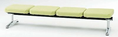 TOKIO【藤沢工業】 ロビーチェア(待合室用長椅子)背無・ビニールレザータイプ 4人用 LA-4NL W2060xD598xH380mm