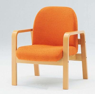 TOKIO【藤沢工業】 木製ロビーチェア(待合室用長椅子)肘付・布張りタイプ 1人用 LW-1A W620xD680xH730mm