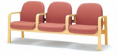 TOKIO【藤沢工業】 木製ロビーチェア(待合室用長椅子)各席肘付・ビニールレザータイプ 3人用 LW-3AL W1760xD680xH730mm