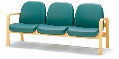 TOKIO【藤沢工業】 木製ロビーチェア(待合室用長椅子)両側肘付・ビニールレザータイプ 3人用 LW-3L W1680xD680xH730mm