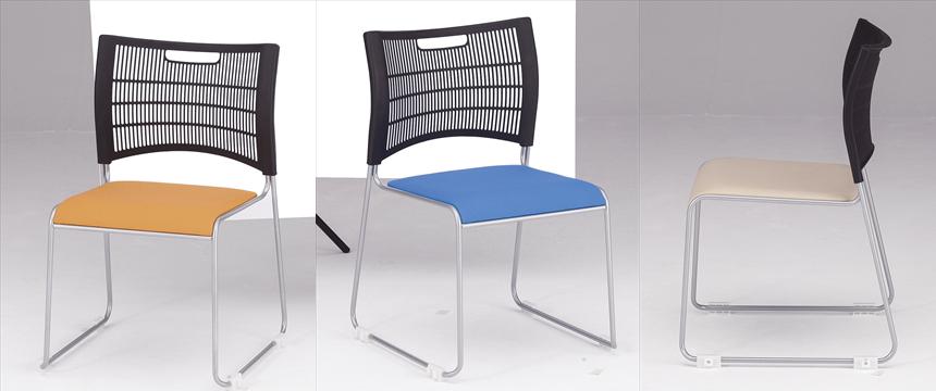 TOKIO【藤沢工業】 ミーティングチェア(会議用スタッキングチェア) 塗装脚・背部:樹脂(ブラック)・座部:布張り NSC-30