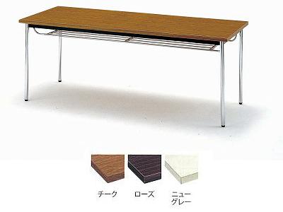 TOKIO【藤沢工業】 ミーティングテーブル(会議用テーブル) 角型天板・共貼り・棚付・丸脚タイプ TD-1590TM W1500xD900xH700mm