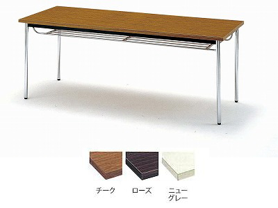 TOKIO【藤沢工業】 ミーティングテーブル(会議用テーブル) 角型天板・共貼り・棚付・丸脚タイプ TD-1845TM W1800xD450xH700mm