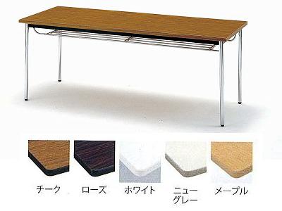 TOKIO【藤沢工業】 ミーティングテーブル(会議用テーブル) 角型天板・エラストマエッジ・棚付・角脚タイプ TDS-1845TK W1800xD450xH700mm