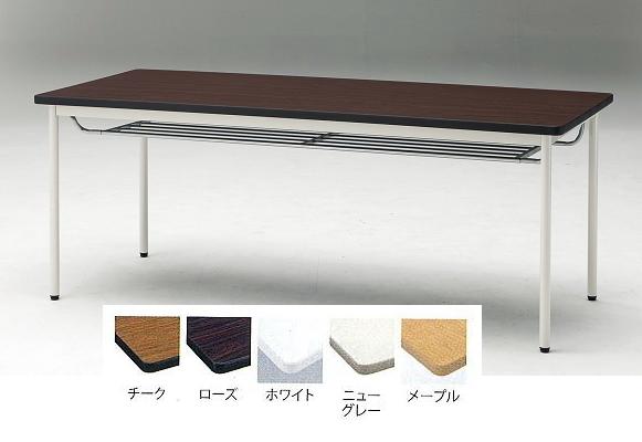 TOKIO【藤沢工業】 ミーティングテーブル(会議用テーブル) 角型天板・エラストマエッジ・棚付・丸脚タイプ TDS-T1890TM W1800xD900xH700mm