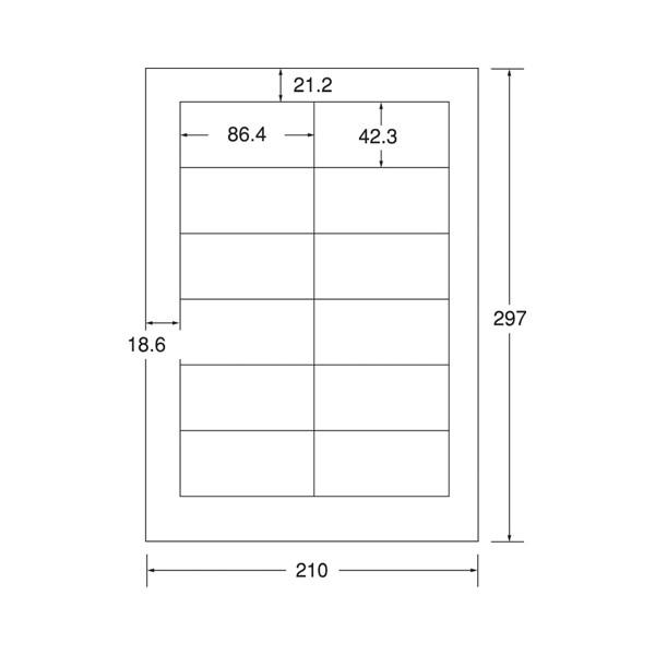 エーワン レーザープリンタ用ラベル31642 A4 12面