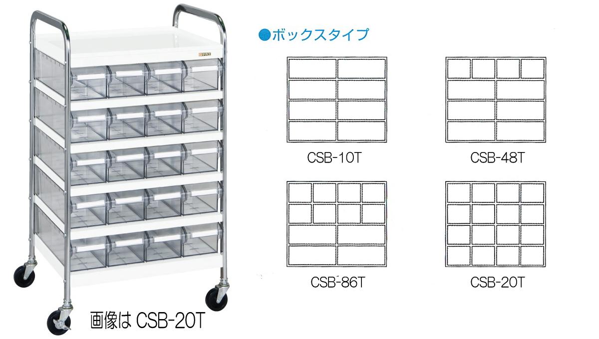 サカエ(SAKAE) CSワゴン 透明ボックス付 Bタイプ CSB-48T W560xD450xH1000mm