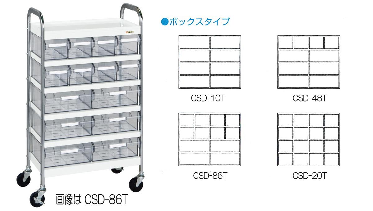 サカエ(SAKAE) CSワゴン 透明ボックス付 Cタイプ CSD-86T W560xD300xH1000mm