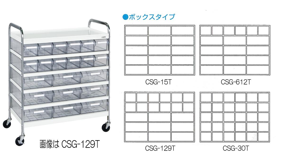サカエ(SAKAE) CSワゴン 透明ボックス付 Cタイプ CSG-129T W820xD450xH1000mm