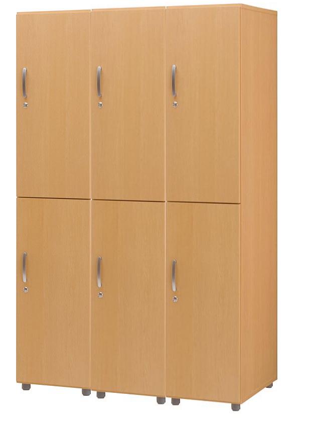 HITECHWOOD【ハイテクウッド】 SOHO用 木製フリージョイントロッカー【2段3列】FJLW-NA ナチュラル W1185xD570xH1860