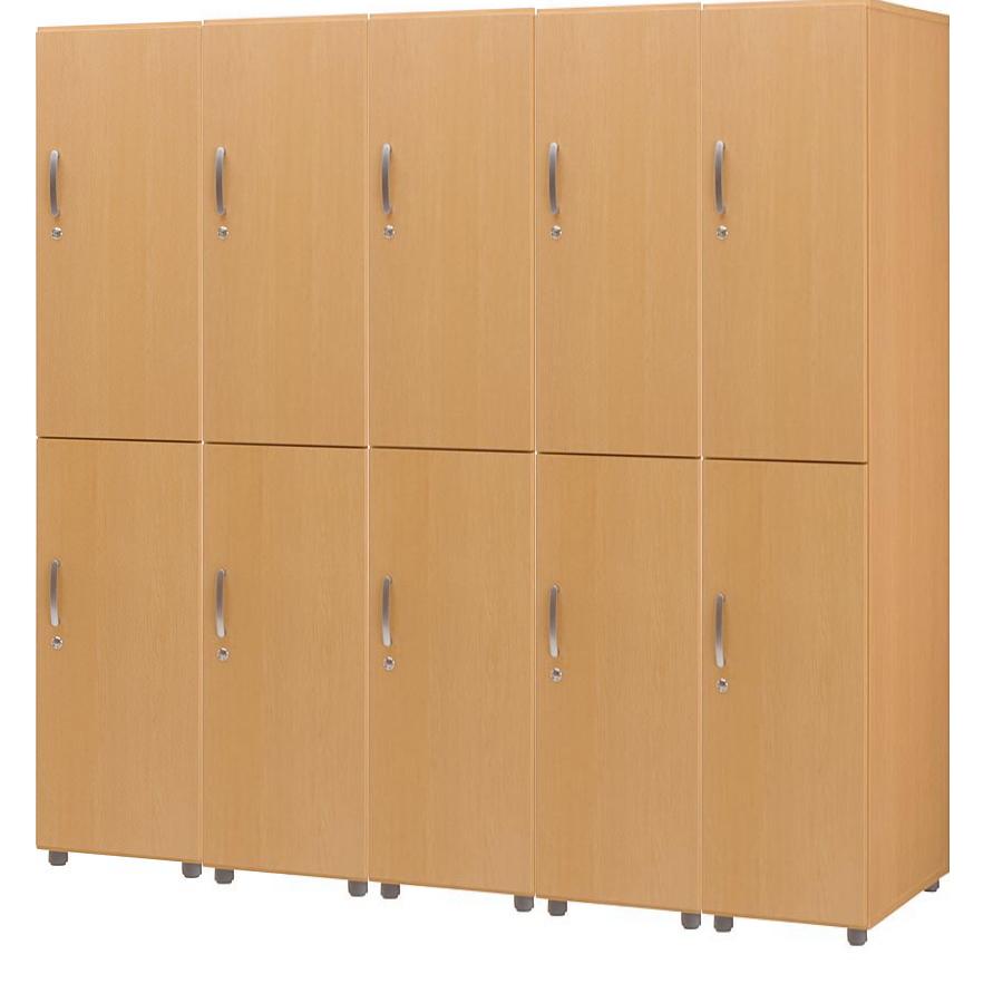 HITECHWOOD【ハイテクウッド】 SOHO用 木製フリージョイントロッカー【2段5列】FJLW-NA ナチュラル W1975xD570xH1860