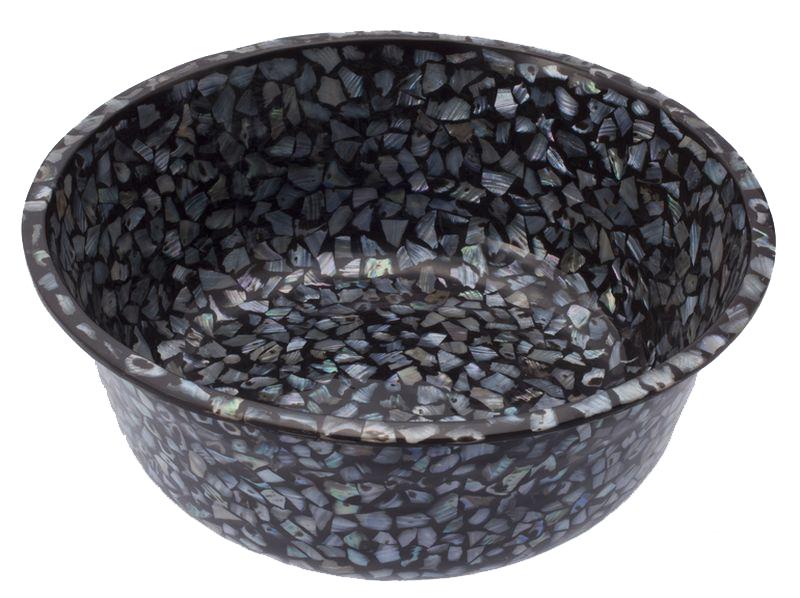 【送料無料】インドネシアバリ島の天然素材!天然真珠貝フットスパボウル(ダークカラー)