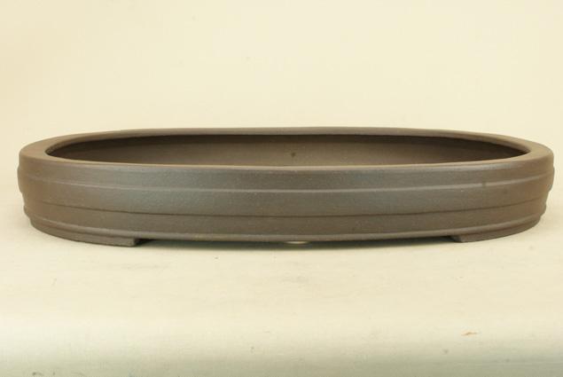 【送料無料】 時代鉢 佳山作 紫泥胴紐楕円鉢 (ホツ有 / 大型サイズ)いよじ園