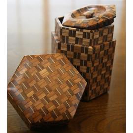 寄木無垢六角茶筒 アジロ B 箱根 寄木細工 箱根寄木細工